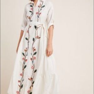 Anthropologie embroidered shirtdress